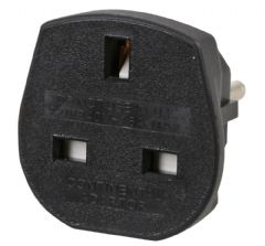 POWERCONNECTIONS 9906-B-16  Uk To Schuko Black Travel Adapter 16Amp